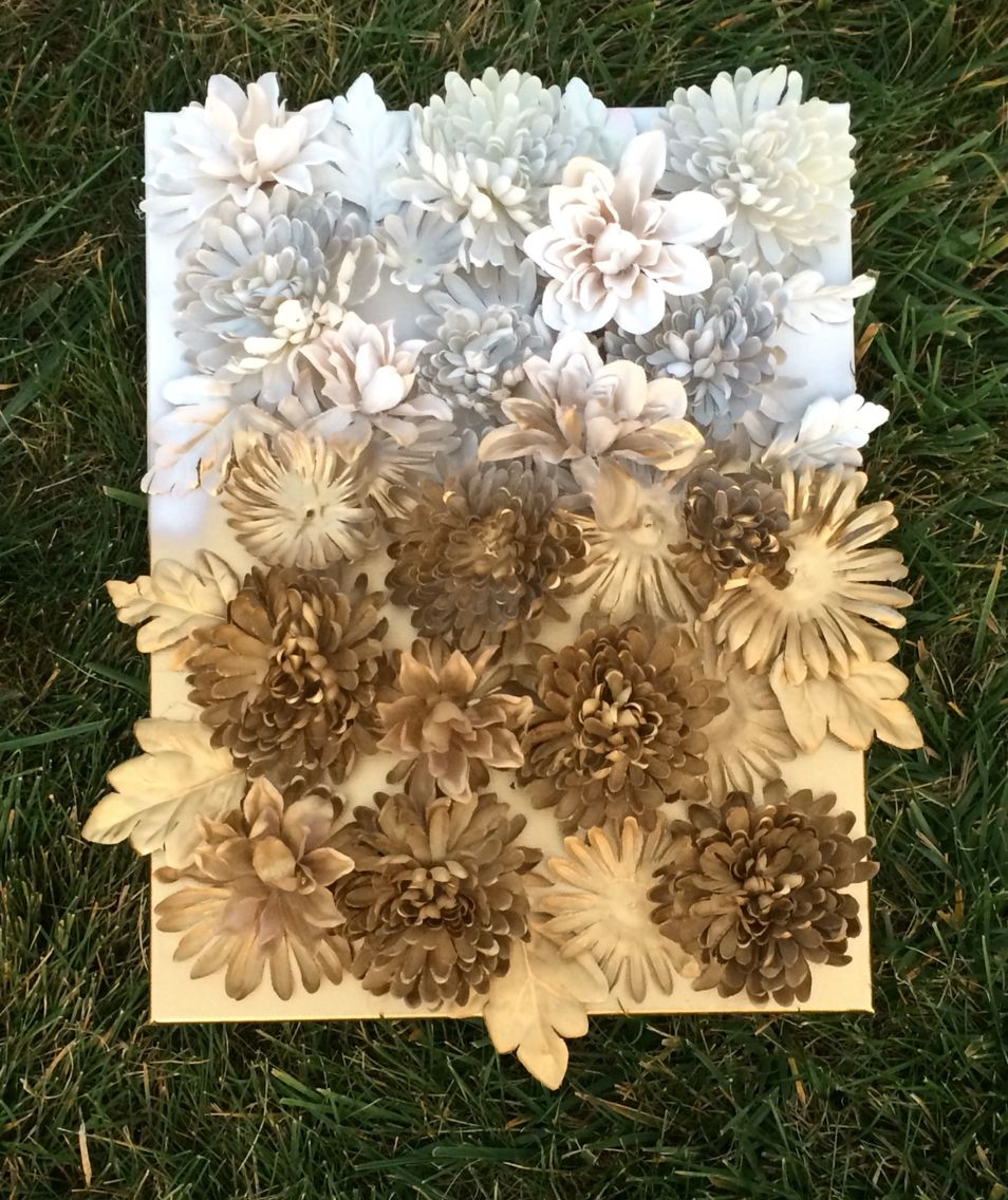 White Gold Spray Painted Artificial Flowers On Canvas Crafts