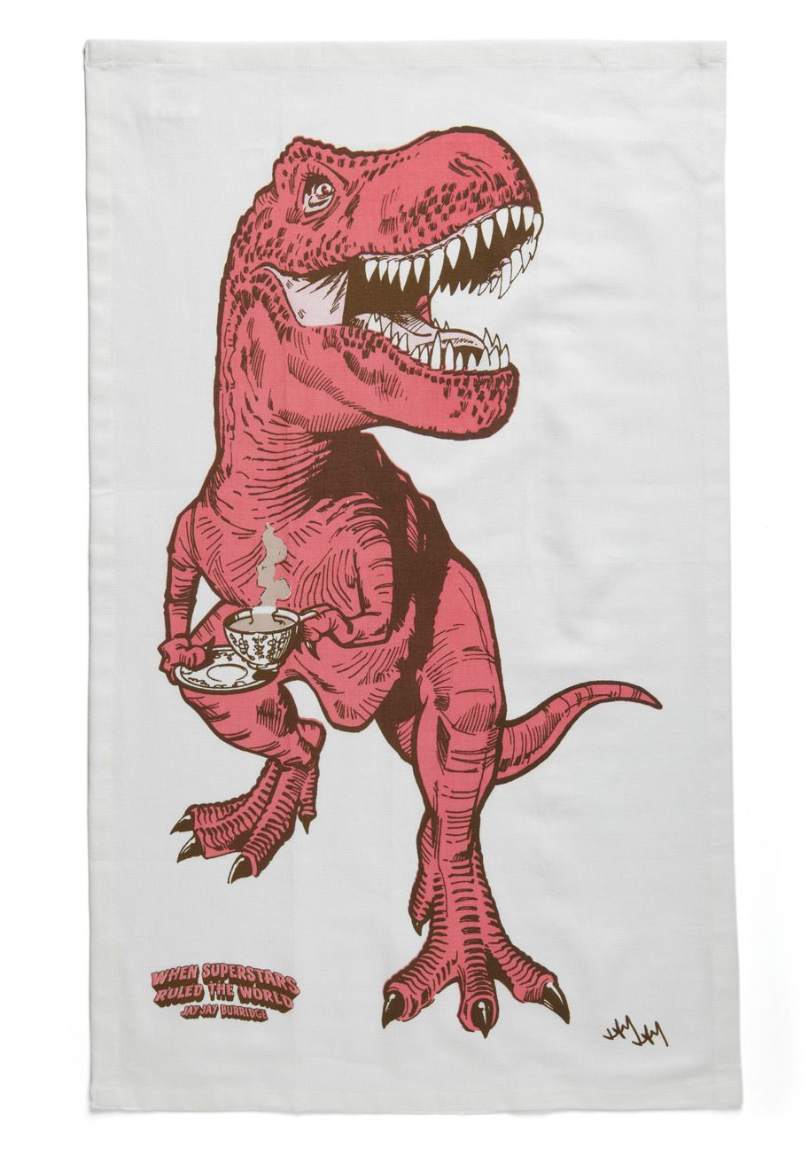 a perfect towel:  cafe drinking dino!