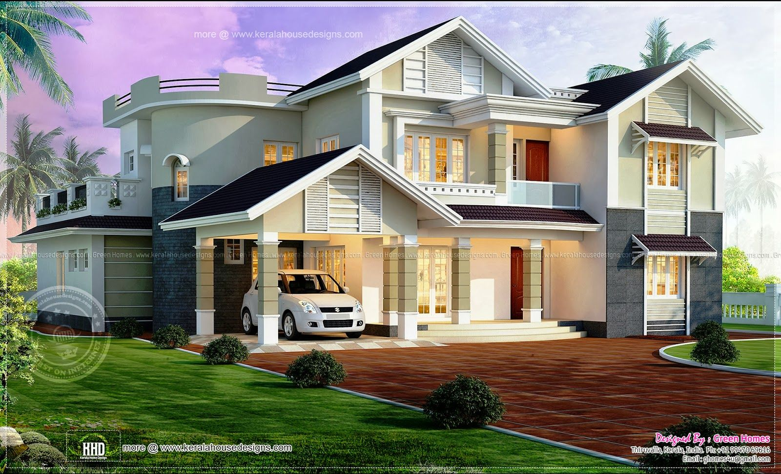 Beautiful kerala 1600 970 home design for Beautiful houses and plans