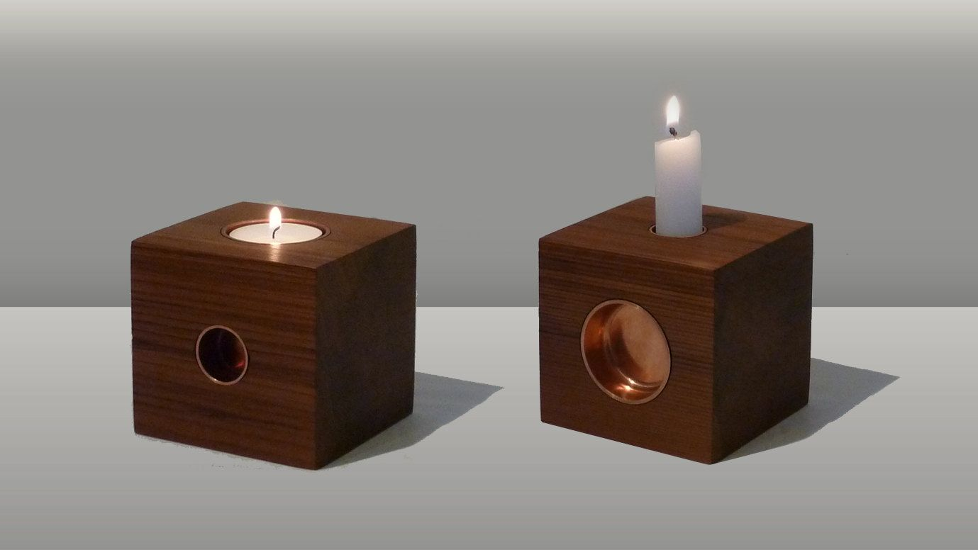 THE CUBE, a candle holder handcrafted from local Canadian wood, fitting standard candles and tea lights. - pinned by pin4etsy.com