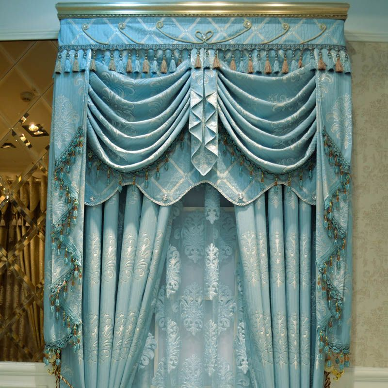 Luxury Crystal Curtain Gold Quality Thickening Fashion Blue Jacquard Window Finished Cloth Customize Drapes And