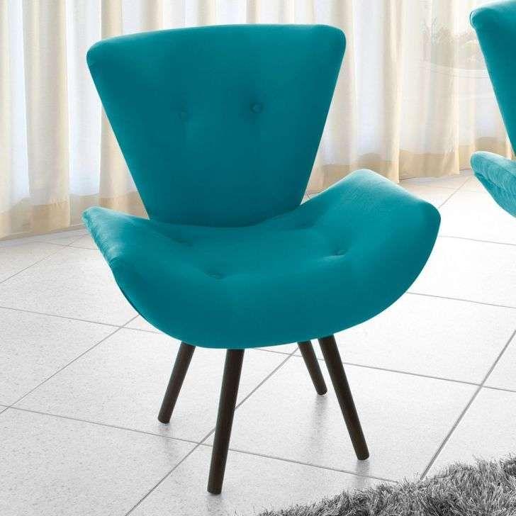 Poltrona Decorativa azul turquesa de Suede. Linda para decorar a sua sala de estar e