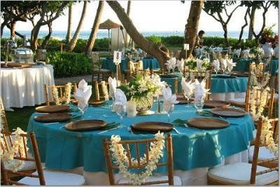 beach centerpiece tulle shells turquoise blue starfish candle glass reception table decoration