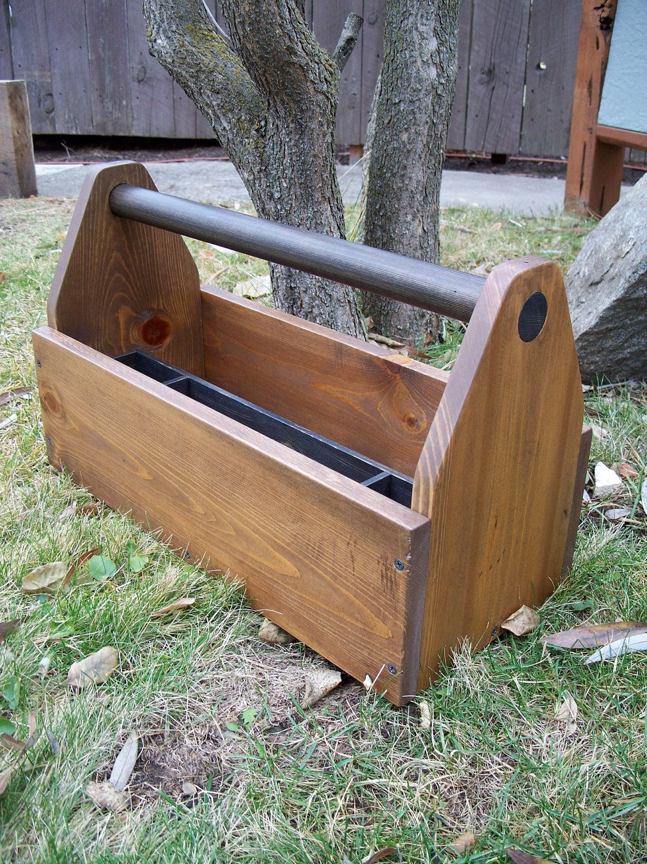 Hand Crafted Wood Tool Tote, Wood Tool Box. $68.00, via Etsy. | Wood ...