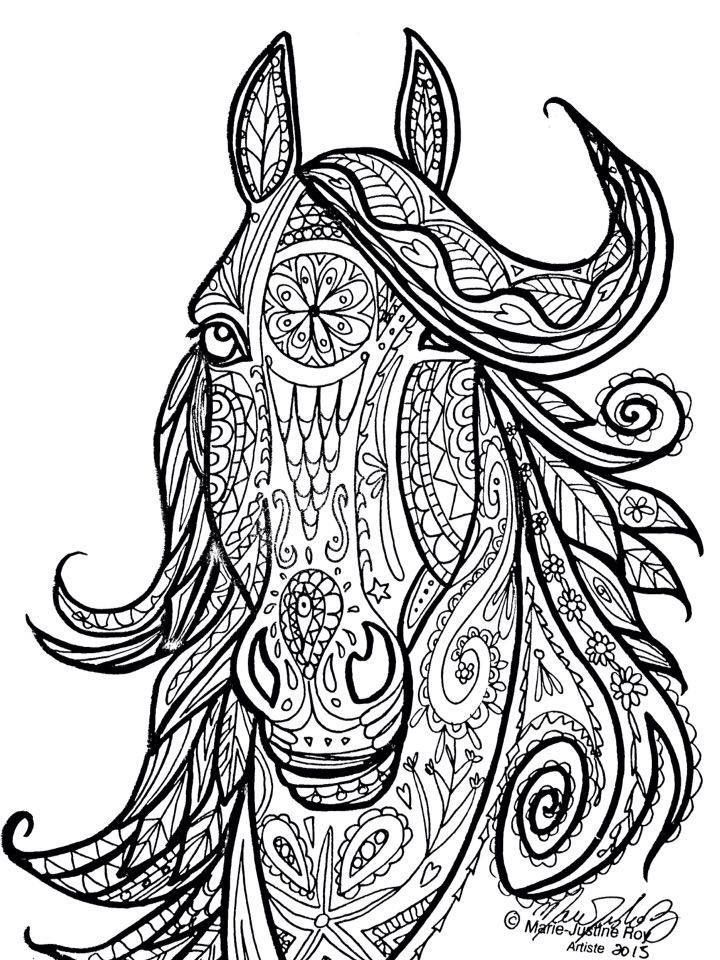 horse adult coloring pages Horse Tribal Head Art by Marie Justine Roy | Color THIS  horse adult coloring pages
