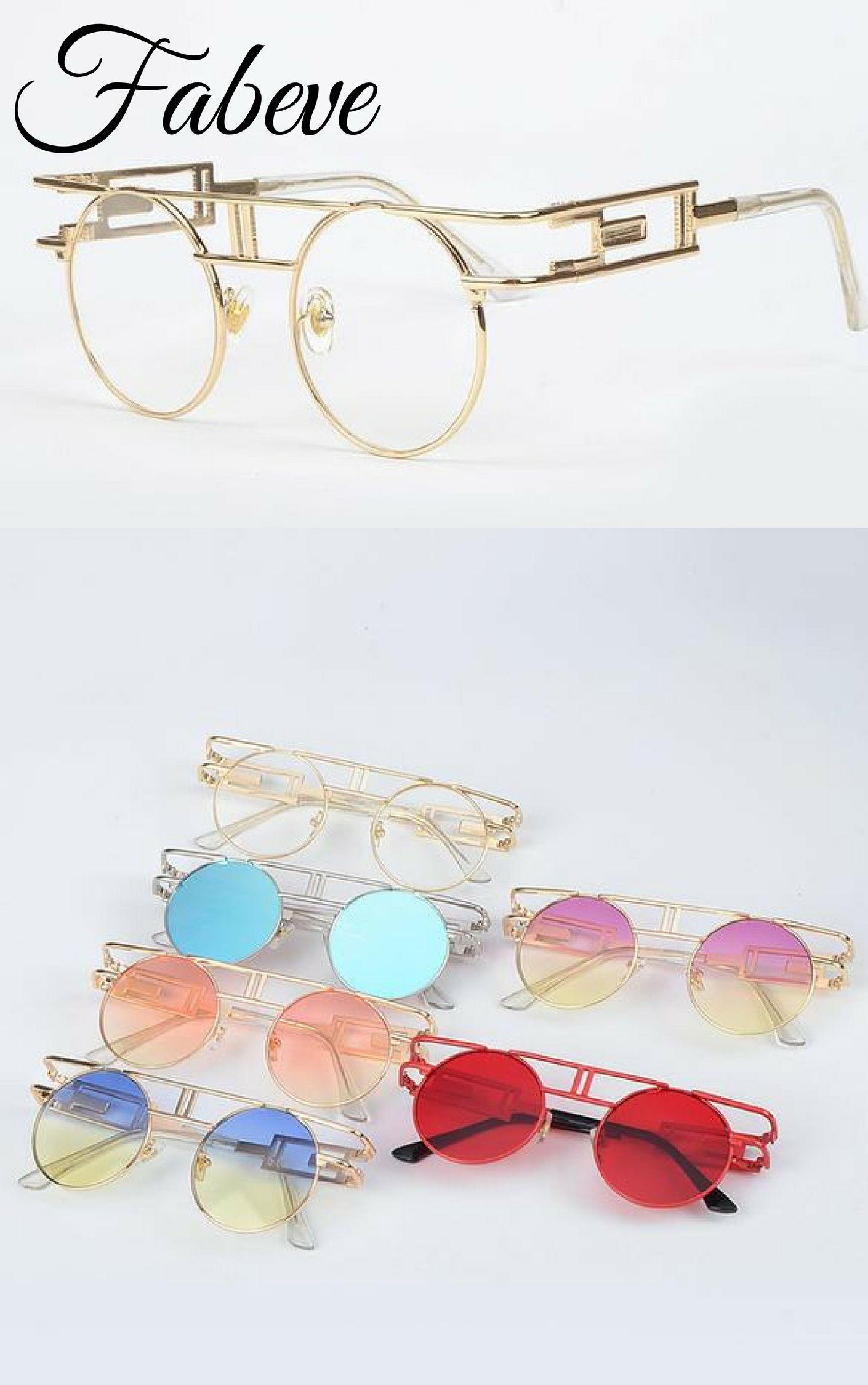 8d2ca81cea5 Extravagant Steampunk Vintage Round Sunglasses in 2018