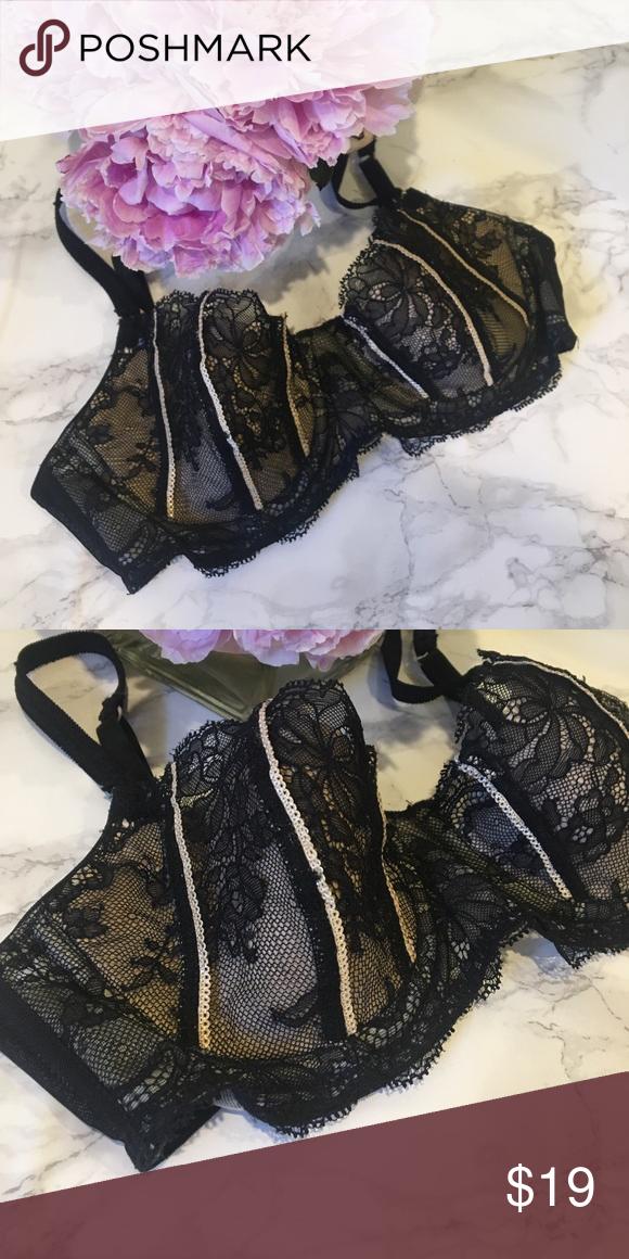 031b8c93cd DKNY Stripe Lacy Black Nude Mesh Bra