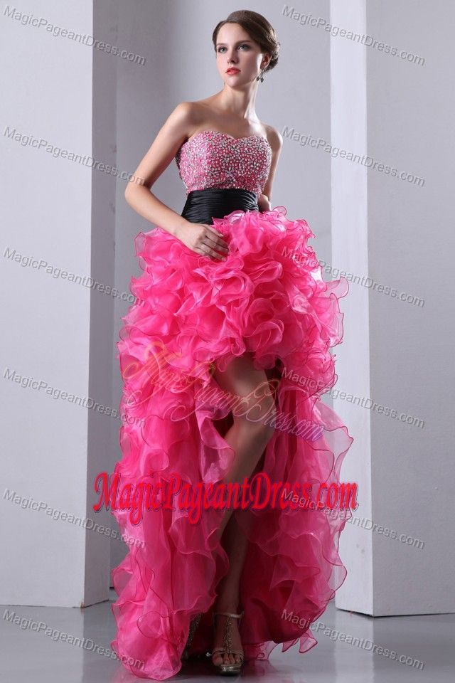 Hot Pink Sweetheart High-low Glitz Pageant Dresses with Beading in ...