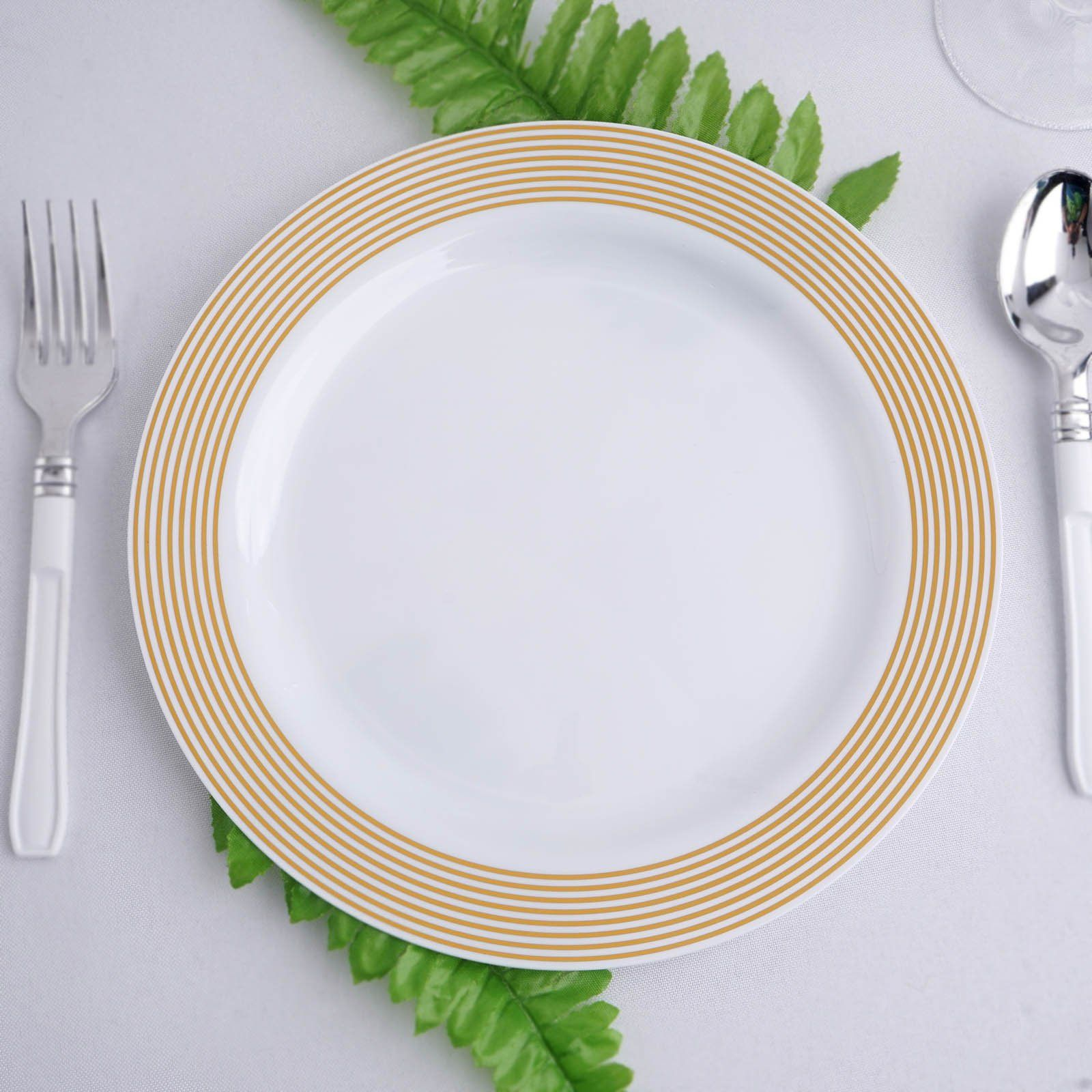 Set Of 10 9 White Round Plastic Dinner Plates Disposable Plates With Gold Striped Rim In 2020 Plastic Dinnerware Disposable Plates Dinner Plates