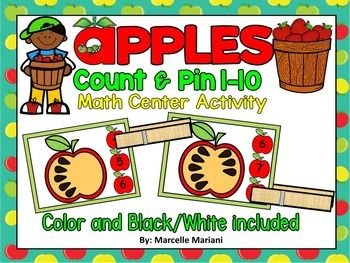 This package provides a FALL-APPLES Center Game suitable for pre-kg to kindergarten students.  This package offers a count and pin center activity COVERING NUMBERS 1-10.  Students count the seeds on the apple and use cloth pins to pin to the correct number.