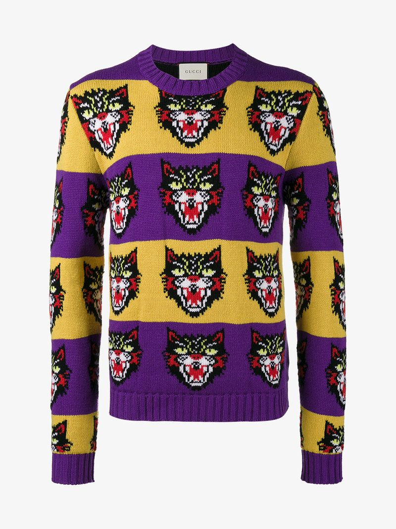 73117ee01 GUCCI ANGRY CAT SWEATER. #gucci #cloth # | Gucci Men | Cat sweaters ...