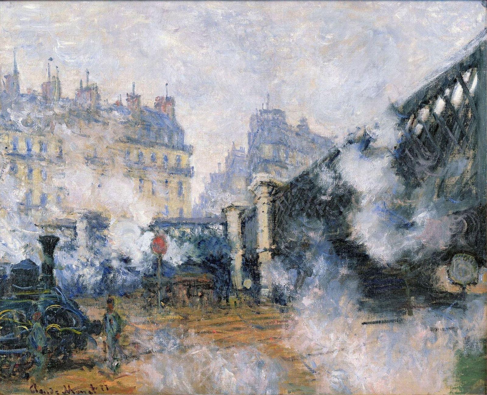 saint lazare station the pont de l europe 1877 印象派絵画 モネ 絵画