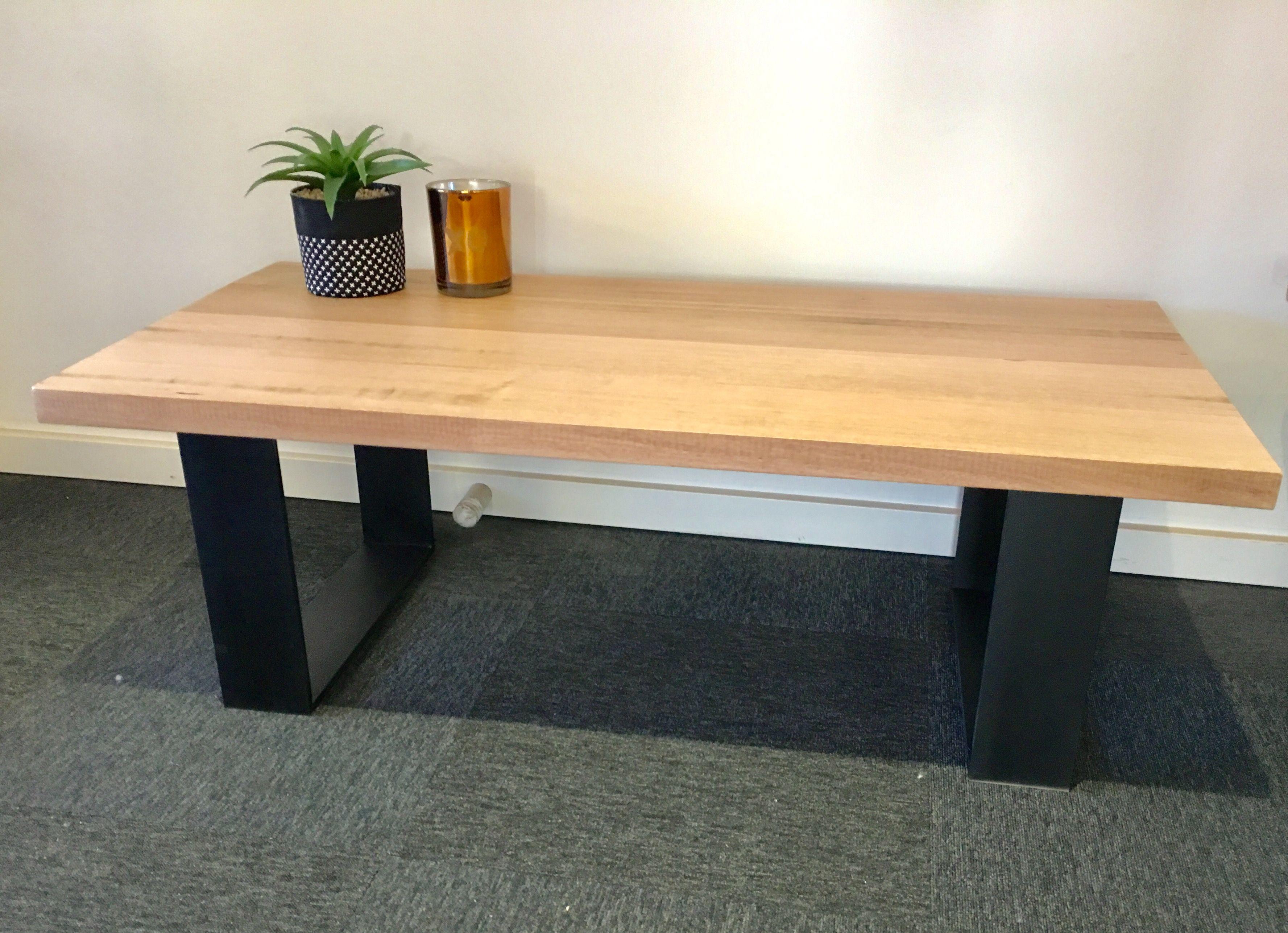 Recycled Tasmanian Oak Coffee Table With Black Metal Legs Iron