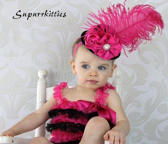 Baby Mini Top Hat Headband - Hot Pink   Black Top Hat Fascinator -  Toddler Girl Flower Hat - Photo P c021eb3dcb3