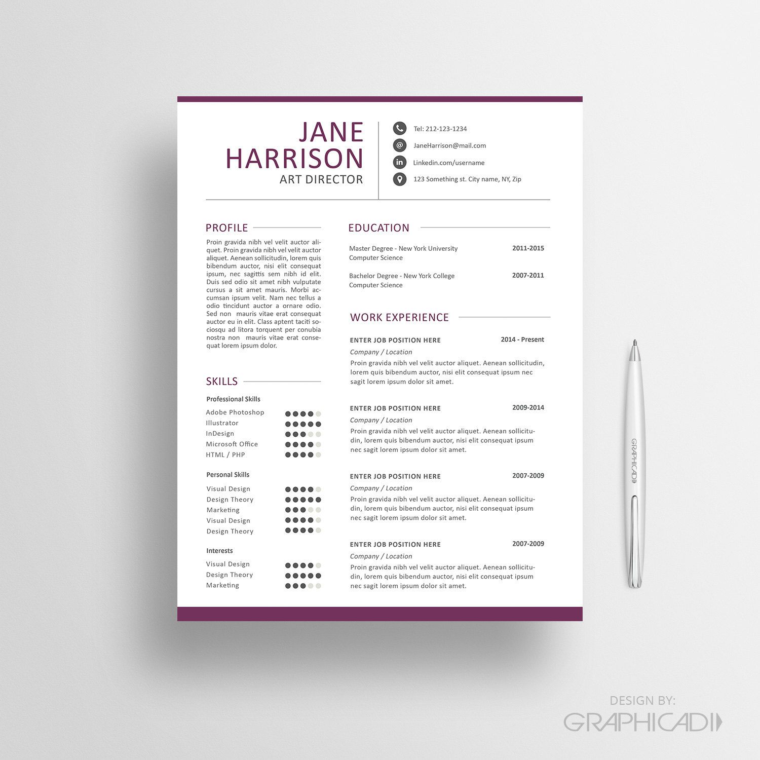 Resume Template Pinterest Resume Template Cv Template And Cover Letter Instant