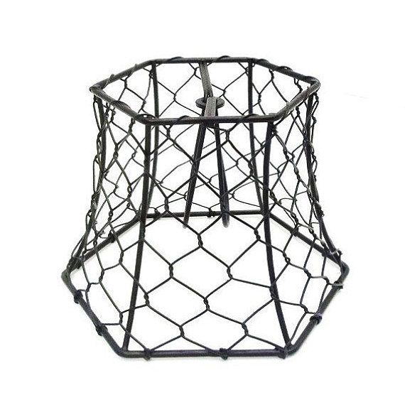 Cleveland Vintage Lighting Clip On Lampshade: Chicken Wire Lampshade Clip On Small Black Hex Wire Lamp