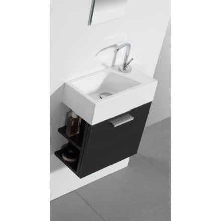Gäste-WC Badmöbel Waschbecken mit Unterschrank und Ablagefächer ... | {Waschbecken mit unterschrank gäste wc 11}