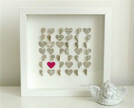 Faire un tableau en papier cr er tableau et coeur - Faire un coeur en papier ...