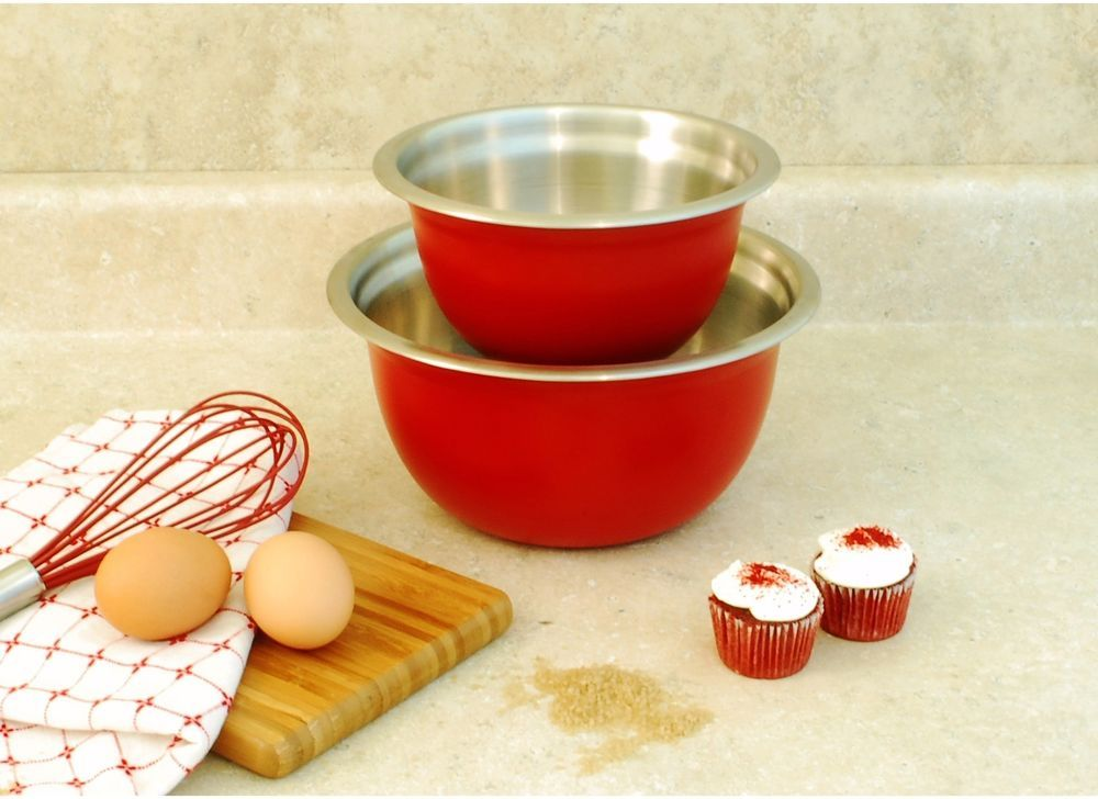 Bowls red stainless steel mixing set of 2 15 and 3 quart