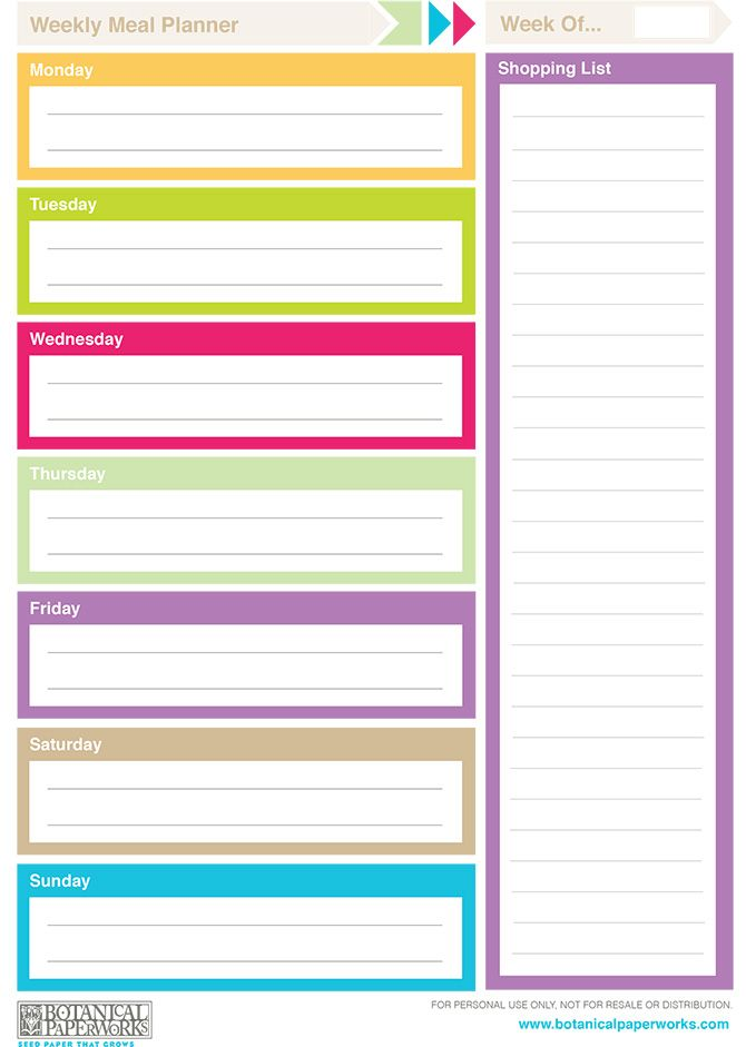 free printable} 2014 Weekly Planners Weekly meal planner, Weekly - school menu template