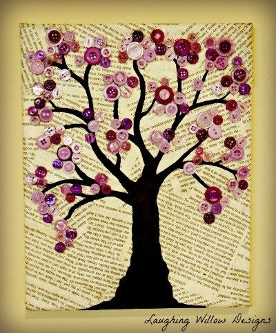 Button Tree art! A great art idea for all those buttons I have lying ...