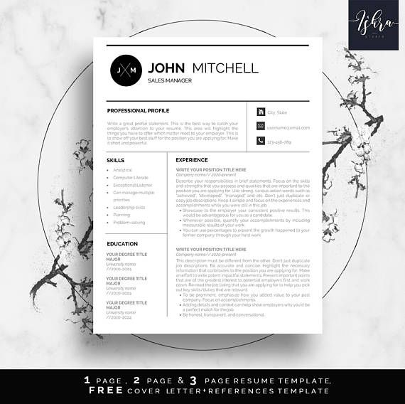 Modern resume template, Resume template, Resume writing