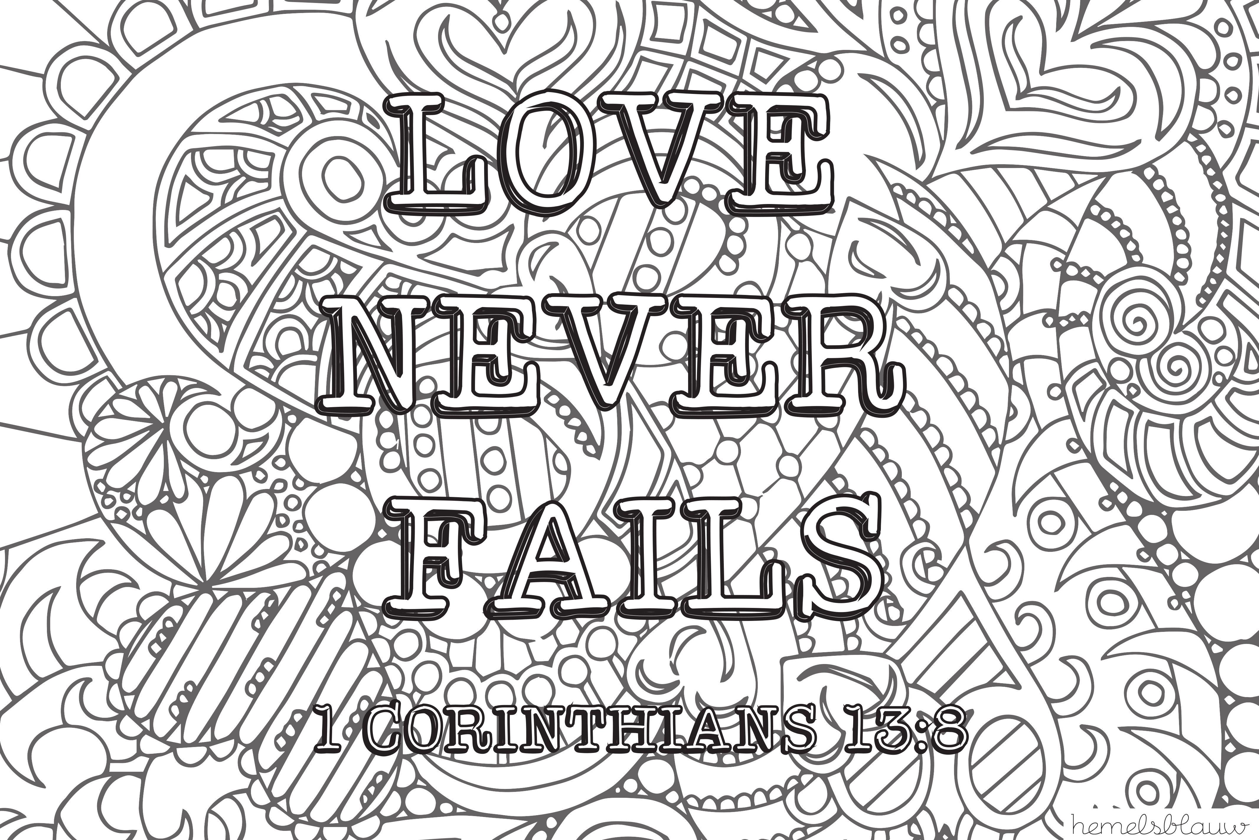 Kleurplaat Love Never Fails Kleurplaten Hemelsblauw