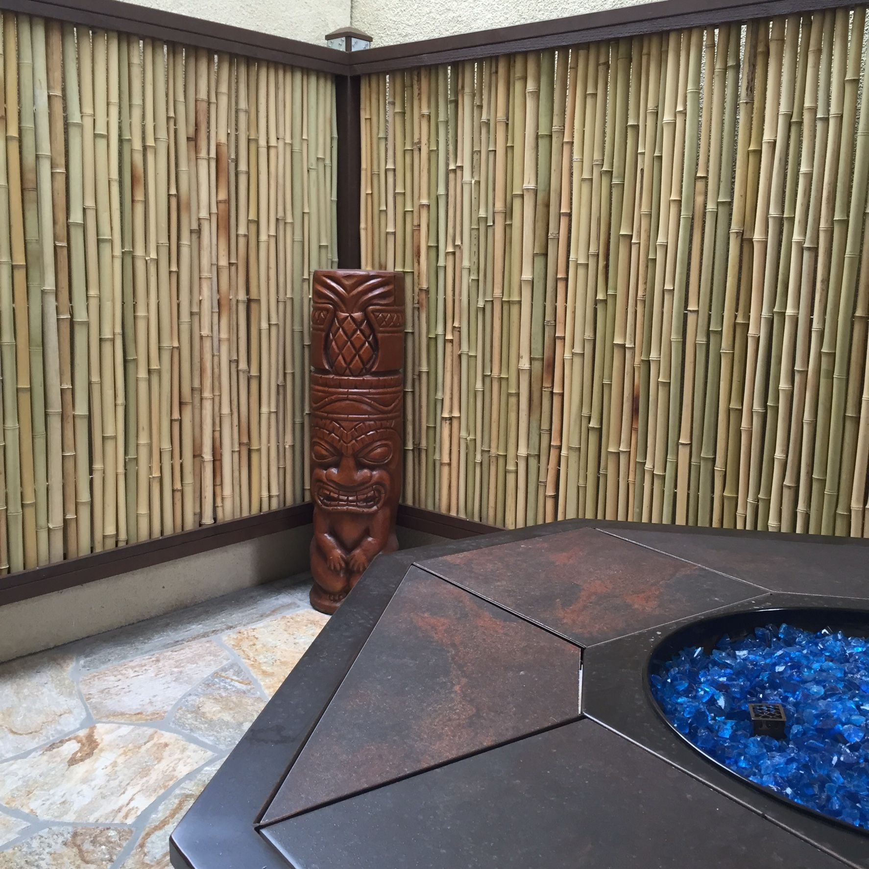 Bamboo Fencing To Cover Stucco Wall Home Projects We