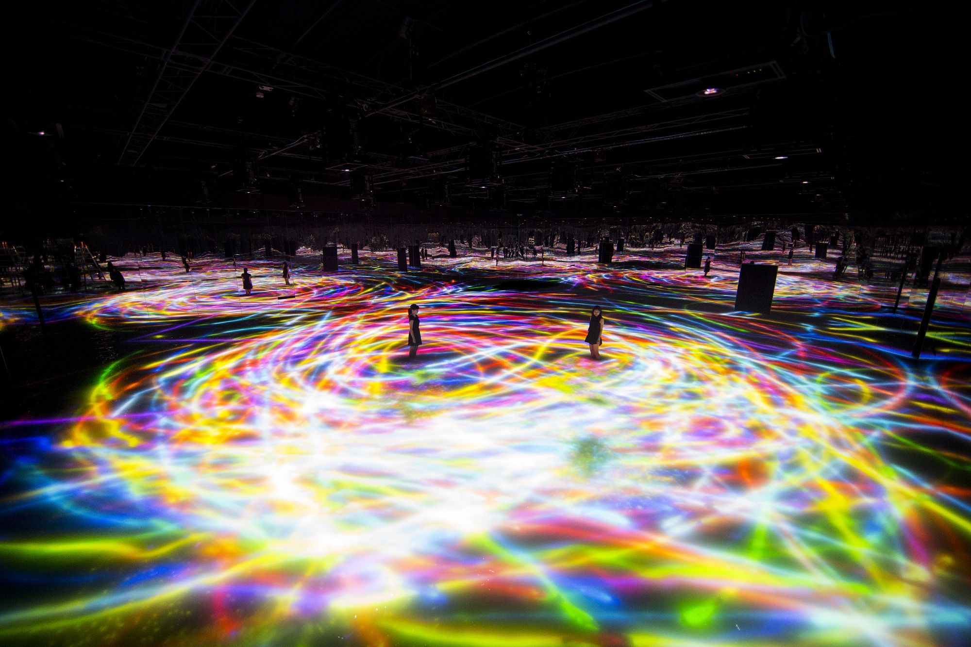 teamLab, Drawing on the Water Surface Created by the Dance of Koi and People, 2016