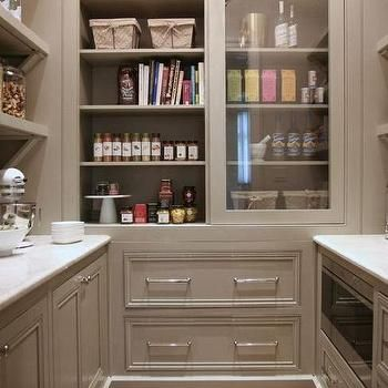 Grey Pantry Cabinets With Sliding Doors Transitional Kitchen My