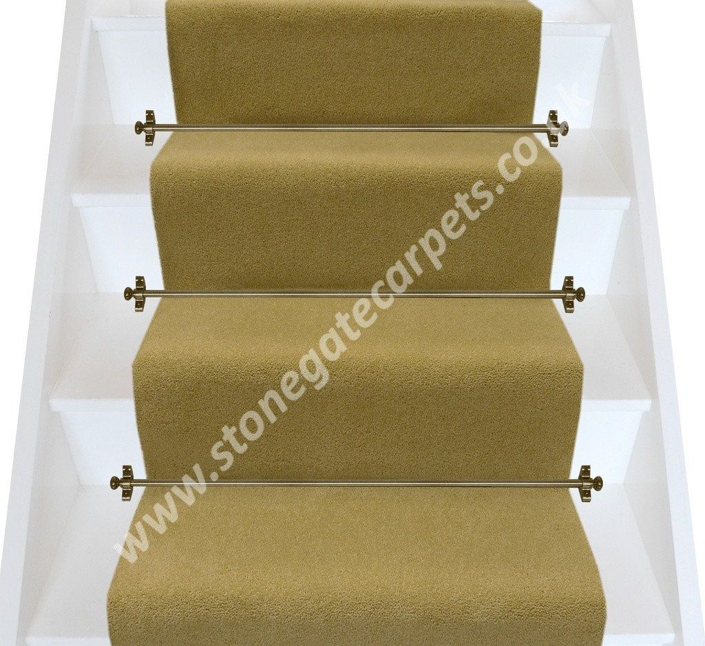 Best Brintons Carpets Bell Twist Greek Olive Plain Stair Runner 400 x 300