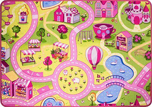 Funfair Pink Colourful Kids Town City Roads Childrens Flo Https Www Amazon Com Dp B01m1nfajv Ref Cm Sw R Pi Dp X Childrens Floor Cool Rugs Childrens Rugs