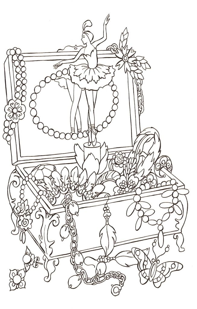 Ballerina Jewellery Box Coloring Page Cards Pinterest Coloring
