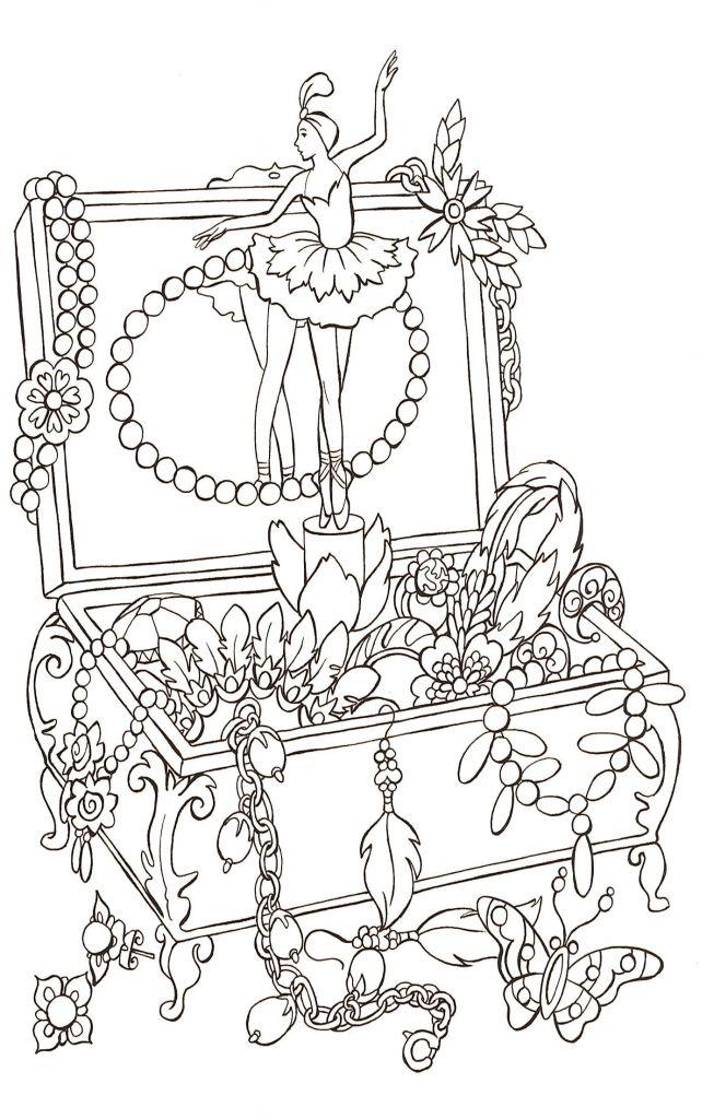 Ballerina Jewellery Box Coloring Page Raskraski Artbuki