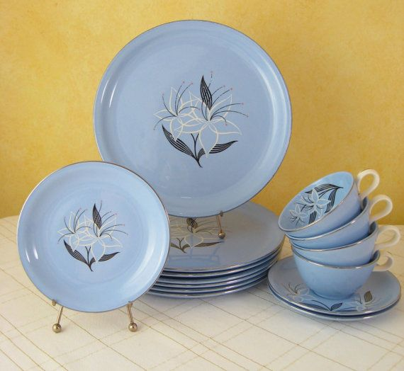 Vintage Dinnerware Set Harmony House Marcia Pacific Blue Homer Laughlin Stardust Skytone Mid & Vintage Dinnerware Set Harmony House Marcia Pacific Blue Homer ...