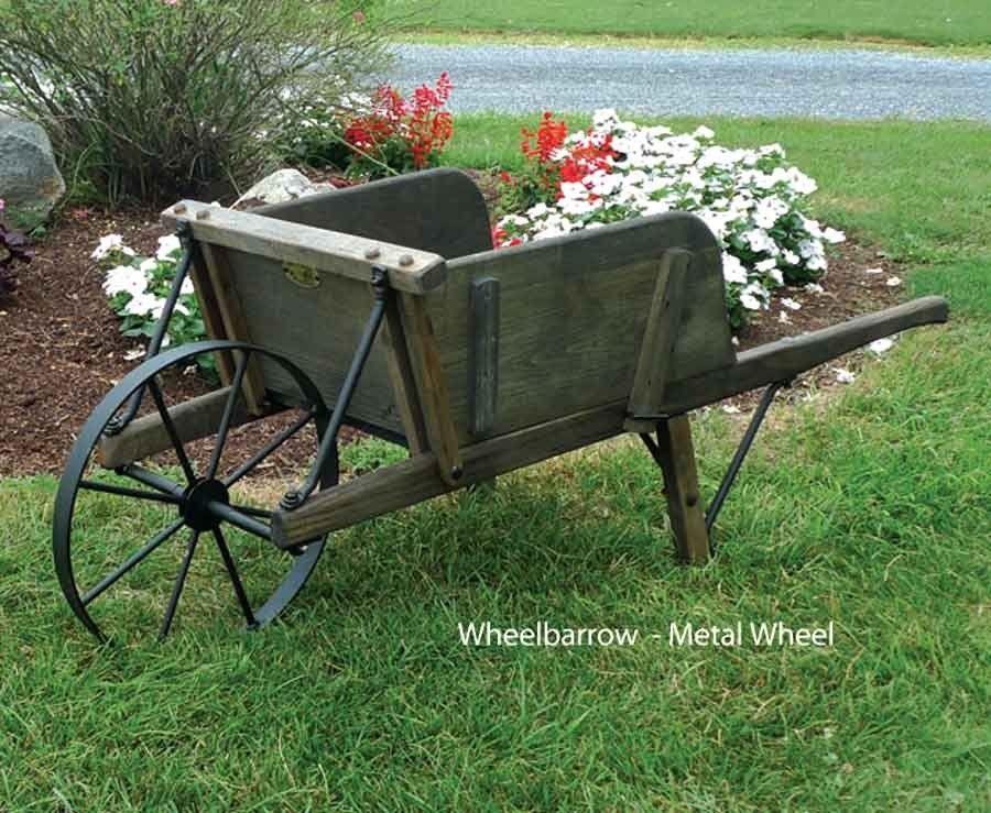 Amish Large Rustic Wooden Wheelbarrow With Removable Sideboards   $378.00  #Wheelbarrow #Gardens #Yard