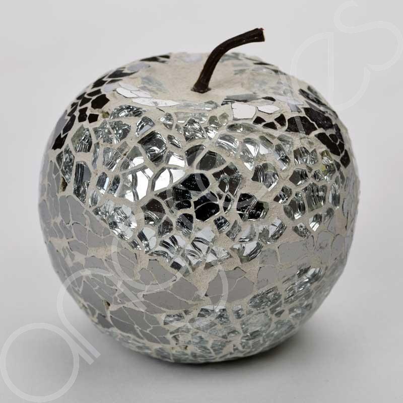 Mosaic Glass Apple Silver Home Decorative Decor Fruit Display Piece Gift Decoration Amenagement Maison Fruit
