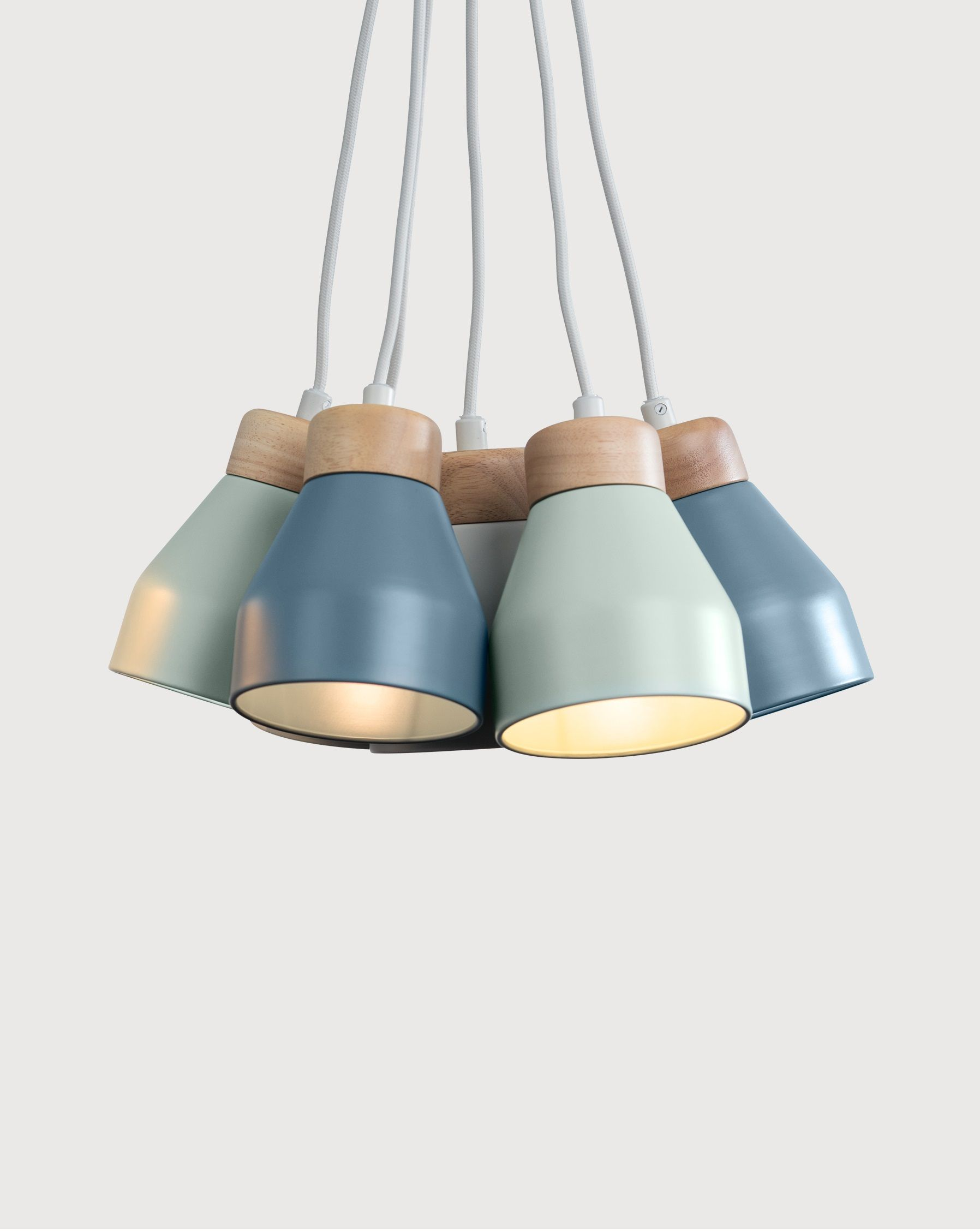 Albert Cluster Pendant Lamp, Muted Grey, Dusk Blue And Duck Egg