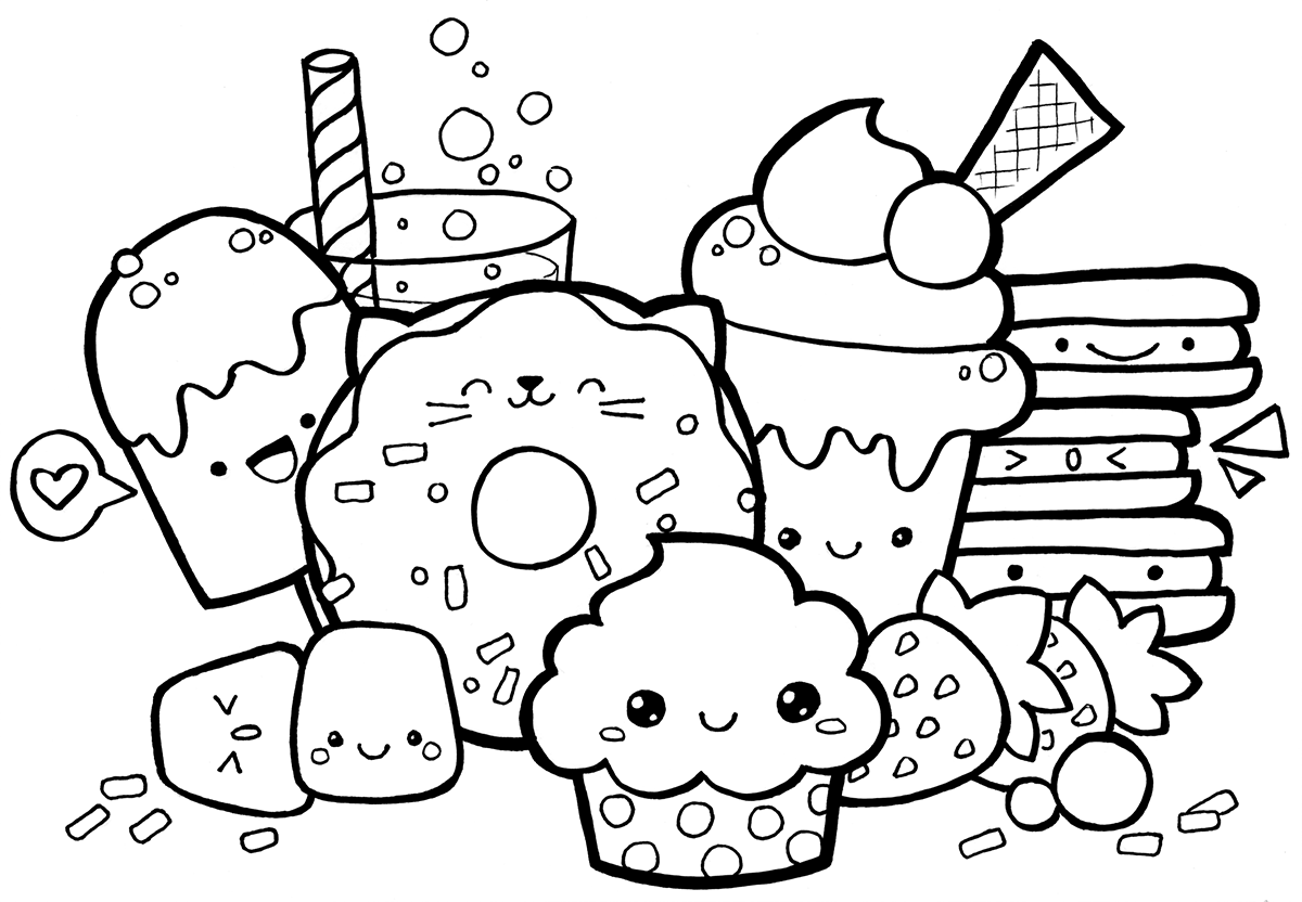 Kawaii Food Doodle Coloring Pages Cute Doodle Art Cute Coloring