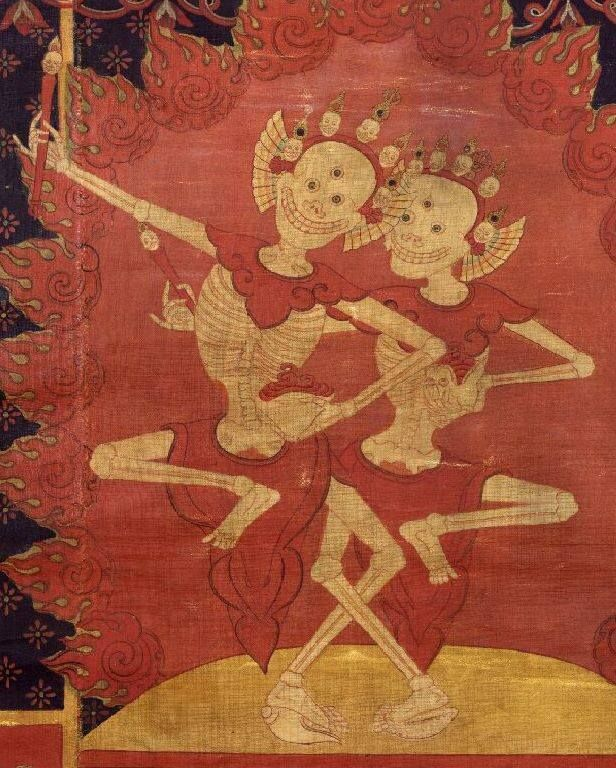 These are the Citipati, the guardians of the cemetary. As Citipati is comprised of the two halves of the human body, man and woman, the figure is also said to symbolize the counterparts of the human life cyle, birth and Death. Often found in Tantric buddhism.