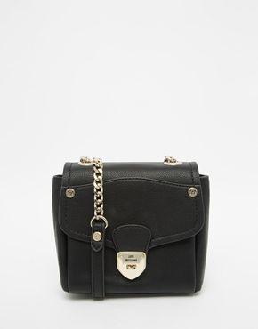 Love Moschino Schwarze Tasche Mit Kettenriemen Taschen Damen Taschen Schwarze Tasche