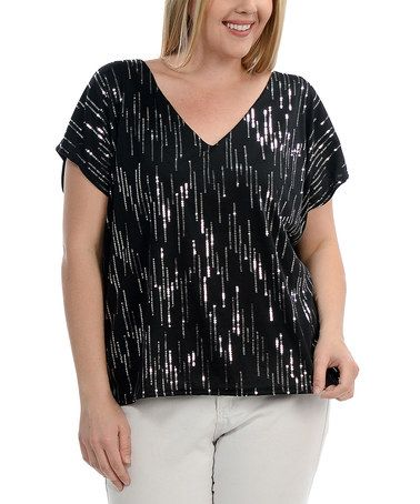 Another great find on #zulily! Black & Silver Sequin V-Neck Top - Plus #zulilyfinds