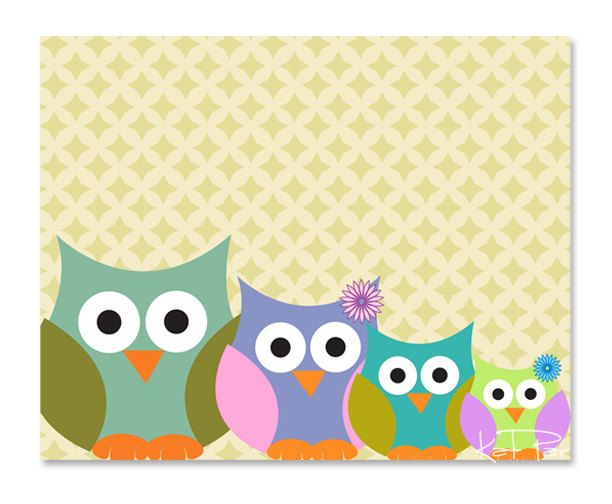 Happy Family, Owls, Mommy, Daddy, and Babies, 8x10\