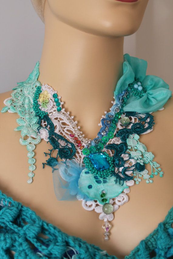 Unique Art To Wear Turquoise Romantic Beaded Embroidered