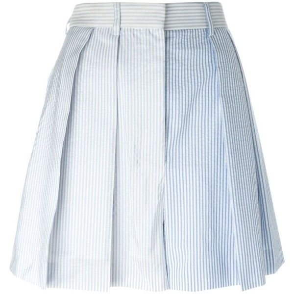 Thom Browne Striped Pleated Skirt (515 CAD) ❤ liked on Polyvore featuring skirts, blue, stripe skirts, striped pleated skirt, pleated skirt, knee length pleated skirt and striped skirts