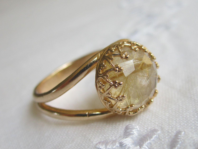 Rutilated Quartz Gold Ring