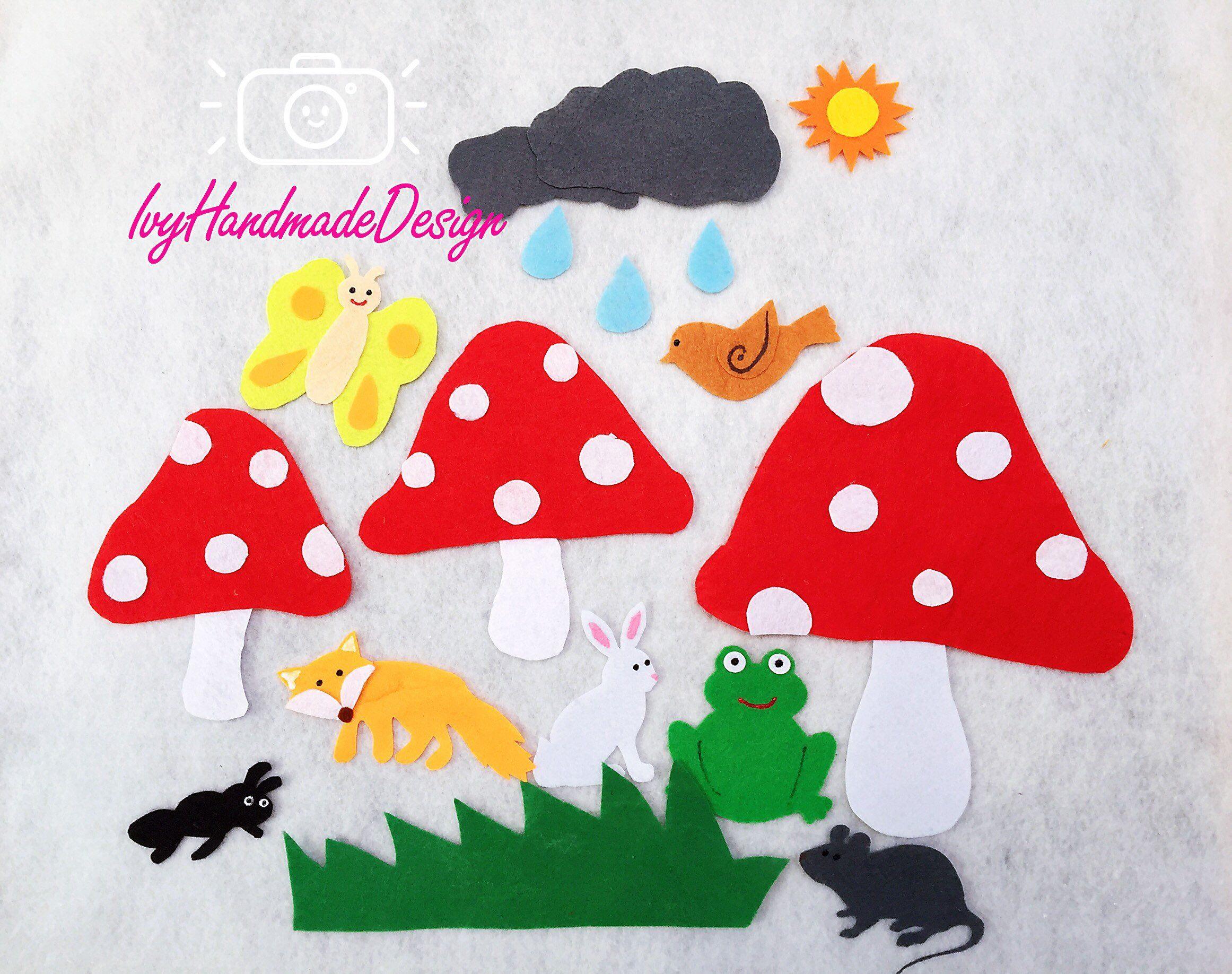 Mushroom In The Rain Felt Board Story Flannel Board Story