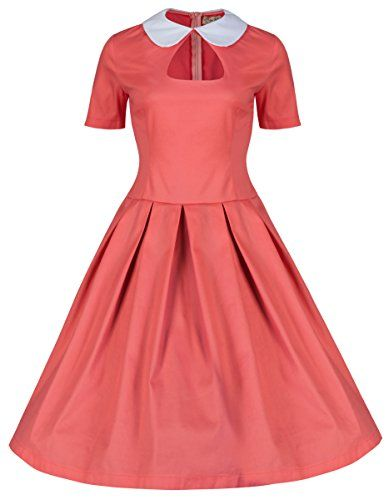 b8a15291e4c28 Lindy Bop 'Tuesday' Chic 1950's Style Peter Pan Collared Dolly Swing Dress  (4XL