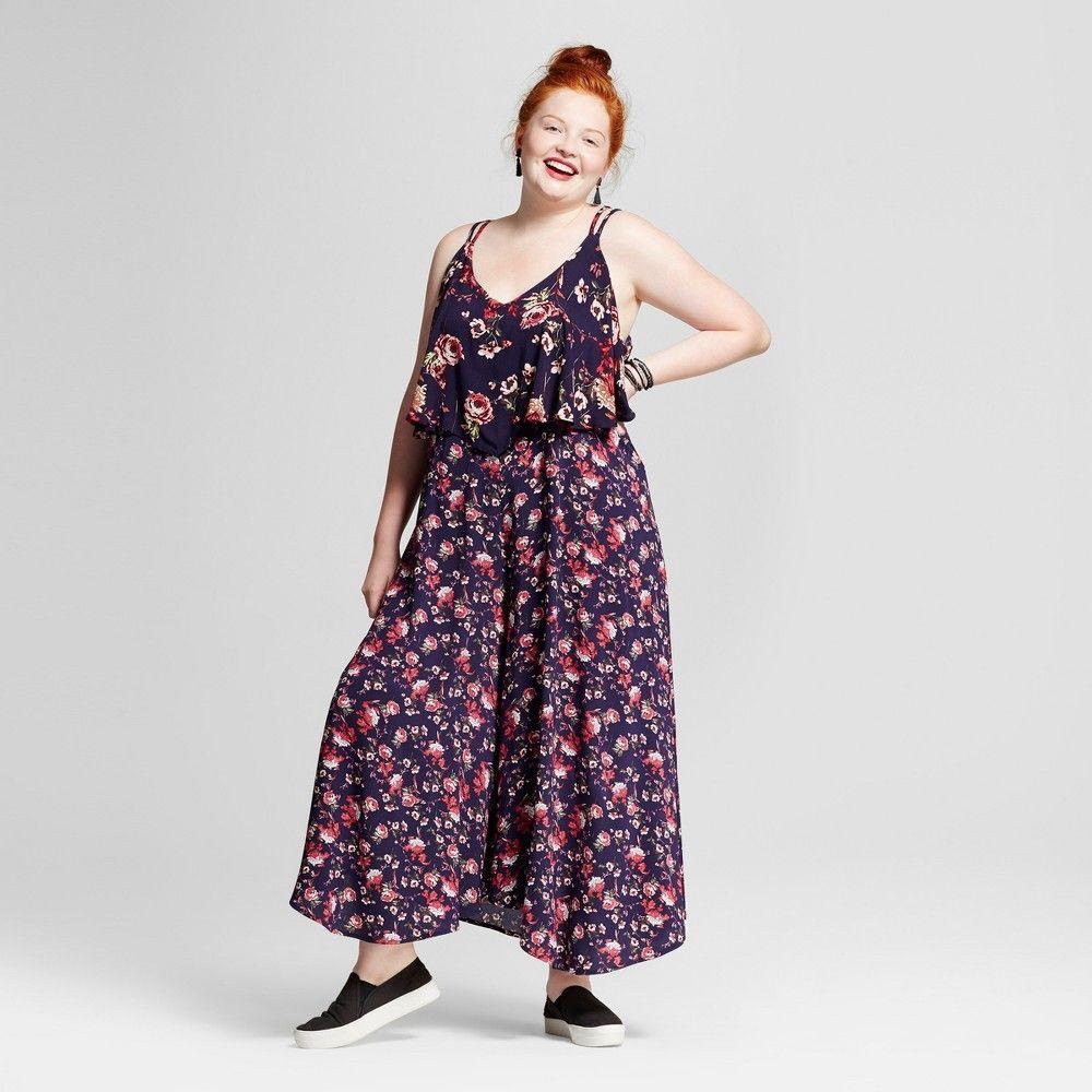 Womenus plus size jumpsuit xhilaration navy floral print