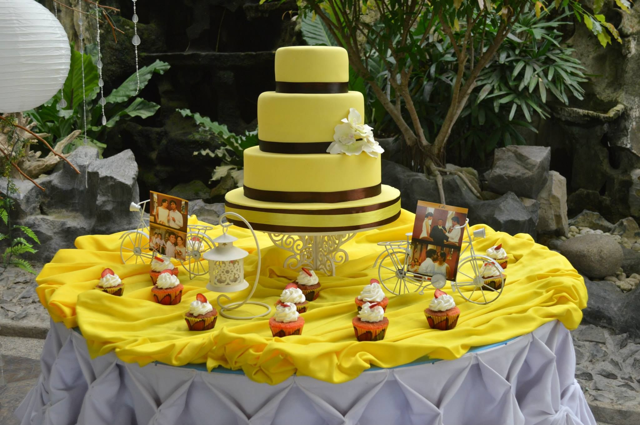 simple brown and yellow wedding cake.. | Z & S | Pinterest | Yellow ...